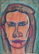 Face 17, original pastel on paper by Filip Finger