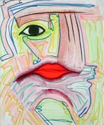 Face, original pastel on paper by Filip Finger