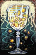 Chalice, oil pastel on paper by Filip Finger